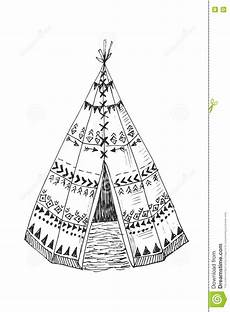 american indian tipi with tribal ornament stock