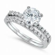 925 sterling silver bridal engagement wedding ring set solitaire clear cz new