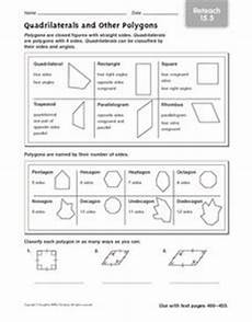 worksheets polygons and quadrilaterals 1025 quadrilaterals and other polygons reteach 5th 6th grade worksheet lesson planet