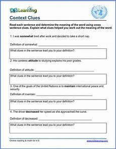 vocabulary context clues worksheets context clues pdf k5 learning