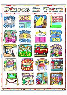 esl worksheets places in town 16001 places in town part 2 esl worksheets