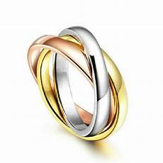 womens tri colored engagement wedding new silver rose gold stainless steel ring ebay