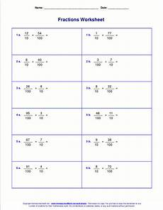 fractions tenths and hundredths worksheets worksheets for fraction addition