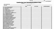 cost breakdown sheet for building a house construction cost estimating breakdown sheet construction spreadsheet