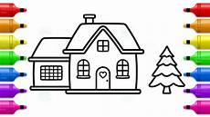 how to draw santa house and tree coloring