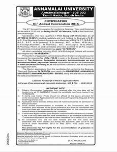 annamalai university apply convocation last date ப டச ல ந ட original education website