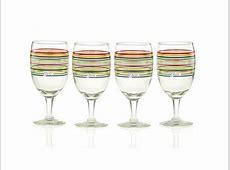 Fiestaware Multi Color Stripe Glassware Goblet, Set of 4