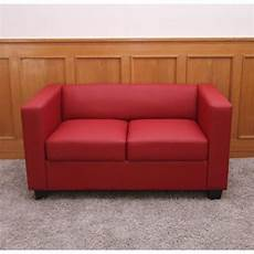 2er couch 2er sofa couch loungesofa lille leder rot