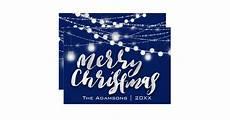 merry christmas name photo grey lights blue navy invitation zazzle ca