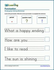 punctuation worksheets exclamation marks 20750 ending punctuation worksheet for kindergarten and preschool k5 learning