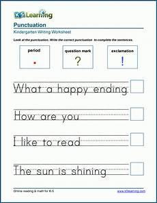 punctuation worksheets preschool 20874 ending punctuation worksheet for kindergarten and preschool k5 learning