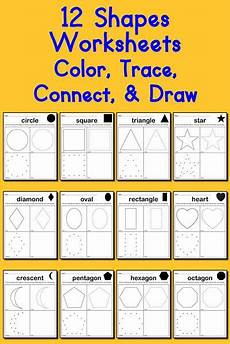 12 shapes worksheets color trace connect draw supplyme