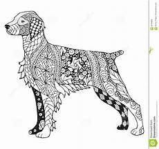 Ausmalbilder Hunde Mandala Bretagne Hund Zentangle Stilisierte Vector Illustration