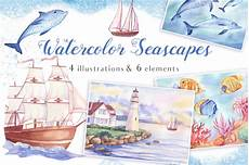 worksheets about seasons 14755 watercolor seascapes by irina diasli thehungryjpeg