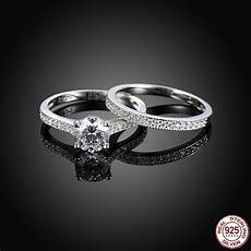 classic 100 real pure 925 sterling silver ring s925 party engagement wedding rings for