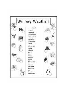 winter weather worksheets kindergarten 14603 wintery weather match esl worksheet by 703davidfrog