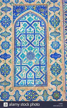 Mosaik Blau Fliesen Muster Auf Der Wand Des Registan