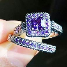 2pcs size 6 9 bohemia fashion 14k white gold filled purple cz diamond wedding rings for