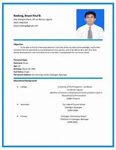 resume sle format in the philipines format of curriculum vitae in the philippines resume with