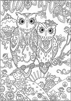 two owls owls coloring pages