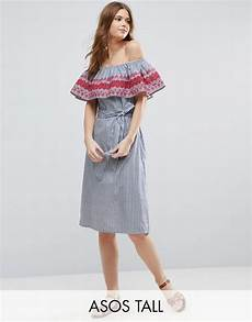 asos tall off shoulder midi sundress in stripe cotton with embroidery asos