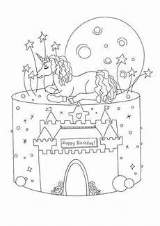 Malvorlagen Unicorn Cake Unicorn Birthday Coloring Pages In 2020 Birthday