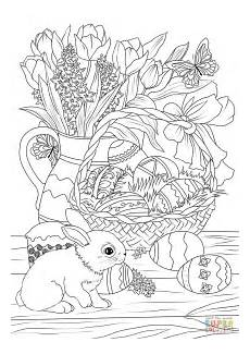 Ausmalbilder Erwachsene Ostern Easter Basket Decorated With Eggs Flowers Bunny And