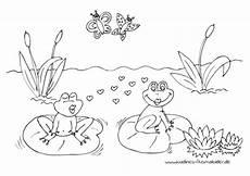 Ausmalbild Frosch Am Teich Verliebte Fr 246 Sche Im Teich Mit Seerosen Nadines Ausmalbilder