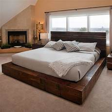 bed frame plank headboard funky reclaimed wood platform bed