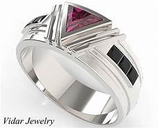 unique triangle cut ruby wedding ring for men s vidar jewelry unique custom engagement and