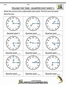 printable telling time worksheets 2nd grade 3624 telling time quarter past on quarter past time worksheets telling time worksheets time