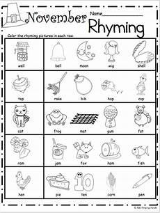 free kindergarten rhyming worksheets for november madebyteachers