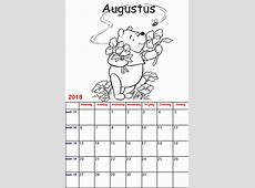 Kleurplaten voor kinderen: Winnie de Poeh Kalender 2018