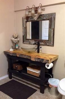 diy bathroom vanity ideas diy 2x4 vanity with a live edge plank counter top most amazing rustic bathroom that i ve seen