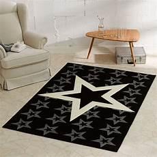 Teppich Kurzflor 140x200 - design velours teppich sterne schwarz 140x200 cm 102315