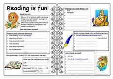 four skills worksheet reading is fun worksheet free