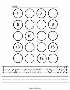 counting numbers to 20 worksheets 8045 i can count to 20 worksheet twisty noodle