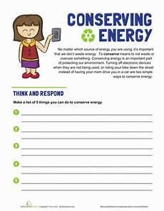 conserving energy worksheet education com