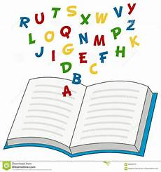 libro lettere d open book with alphabet letters stock vector