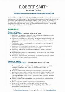 resume special education resource teacher resource teacher resume sles qwikresume