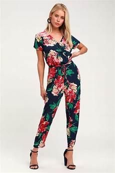 cute navy blue floral print jumpsuit floral surplice jumpsuit