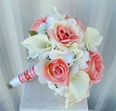 wedding bouquet coral rose white real touch calla