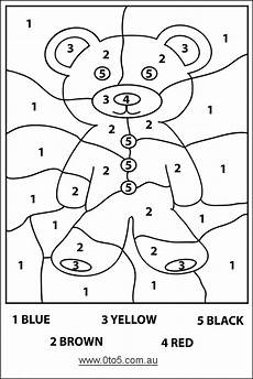 printable color by number worksheets for kindergarten 16190 0to5 au teddybear colour by number easy template suitable for c numbers