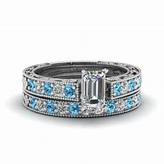 emerald cut milgrain pave diamond wedding ring sets with blue topaz in 14k white gold