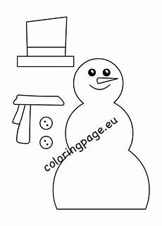 snowman craft template coloring page