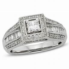 1 ct t w princess cut diamond frame vintage style engagement ring in 10k white gold