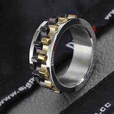 316l black stainless steel metal gear design rotating spinner ring for men and sz 6 5 8
