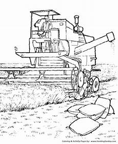 farm equipment coloring pages printable harvester