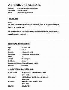sle resume for jollibee service crew sle resume