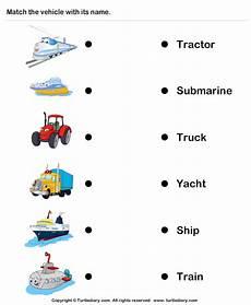 worksheets on vehicles 15217 vehicles identify and match names anak pendidikan latihan